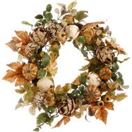 """Pumpkin Fall Wreath 24"""""""