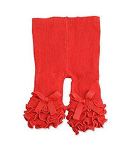 Baby Girls Red Ruffle Legging, Tights , 0-12 months