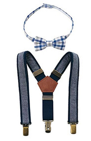 Boys Chambray Suspender and Bow Tie Set