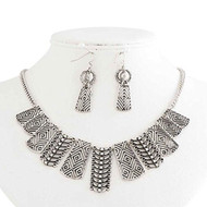 Antique Silver Aztec Inspired Crystal Necklace and Earring Set