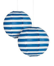"Navy Striped Paper Lantern - 12"" - Set of 2"