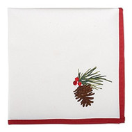 Pinecone Embroidered Cotton Napkins- Set of 4