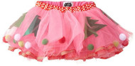 Girls Mud Pie Pink and Red Polka dot Trim Christmas Tutu, One Size Fits All