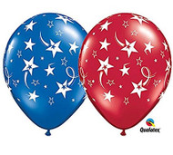 "11"" Stars Red & Blue Latex Balloons - Set of 6"