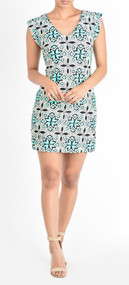 Aryeh Ladies Teal Printed Ruffled Sleeve Shift Dress (Large)