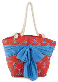 Mud Pie Sarong Along Red Anchor Tote