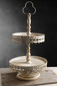 "12"" Off White Two Tier Dessert Stand"