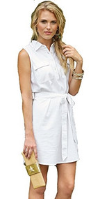 Mud Pie Marley White Chambray Shirtdress
