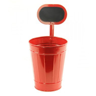 """Red Tin Planter/Container w/ Chalkboard - Medium 11"""""""