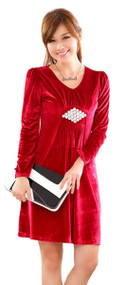 SY Womans Wine Red Velour Evening Dress, Prom Dress, Large, 9821