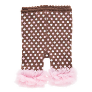 Baby Girls Brown & Pink Leggings with Chiffon Ankles (0-12 months)