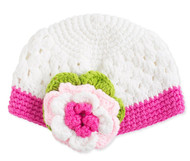 Baby Girls Crocheted Pull On White & Pink Hat with Crocheted Flower