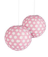 """Light Pink Polka Dot Paper Lantern - 12"""" - Set of 2"""