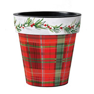 "Studio M Christmas Plaid 18"" Art Pot Planter"