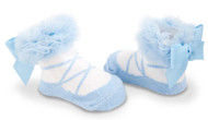 Baby Girl Light Blue Knit Ballet Booties