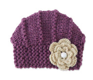 Baby Girls Handmade Knit Plum Hat with Light Beige Flower