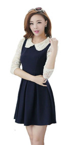 Womans Long Sleeve Navy Blue Dress with Cream Lace - Y9839S - Medium
