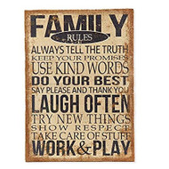 Family Rules Burlap Wall Print