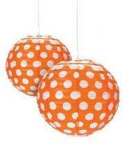 """Orange Polka Dot Paper Lantern - 12"""" - Set of 2"""