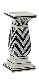 "8"" Blue Chevron Candle Holder"