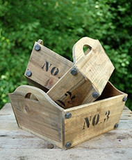 Nested Wooden Numbered Trays - Set of 3