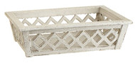 "15"" Wooden White Lattice Tray/Basket"