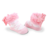 Baby Girl Light Pink Knit Ballet Booties