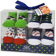Baby Essentials Set, Baby Boys 4-Pack Sports Socks 0-6 Months 0-16lbs