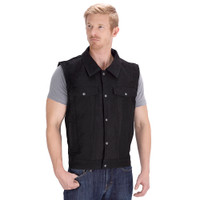 Viking Cycle Freedom Black Denim Motorcycle Vest Front SIde
