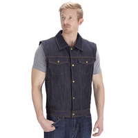 Viking Cycle Freedom Blue Denim Motorcycle Vest Front Side