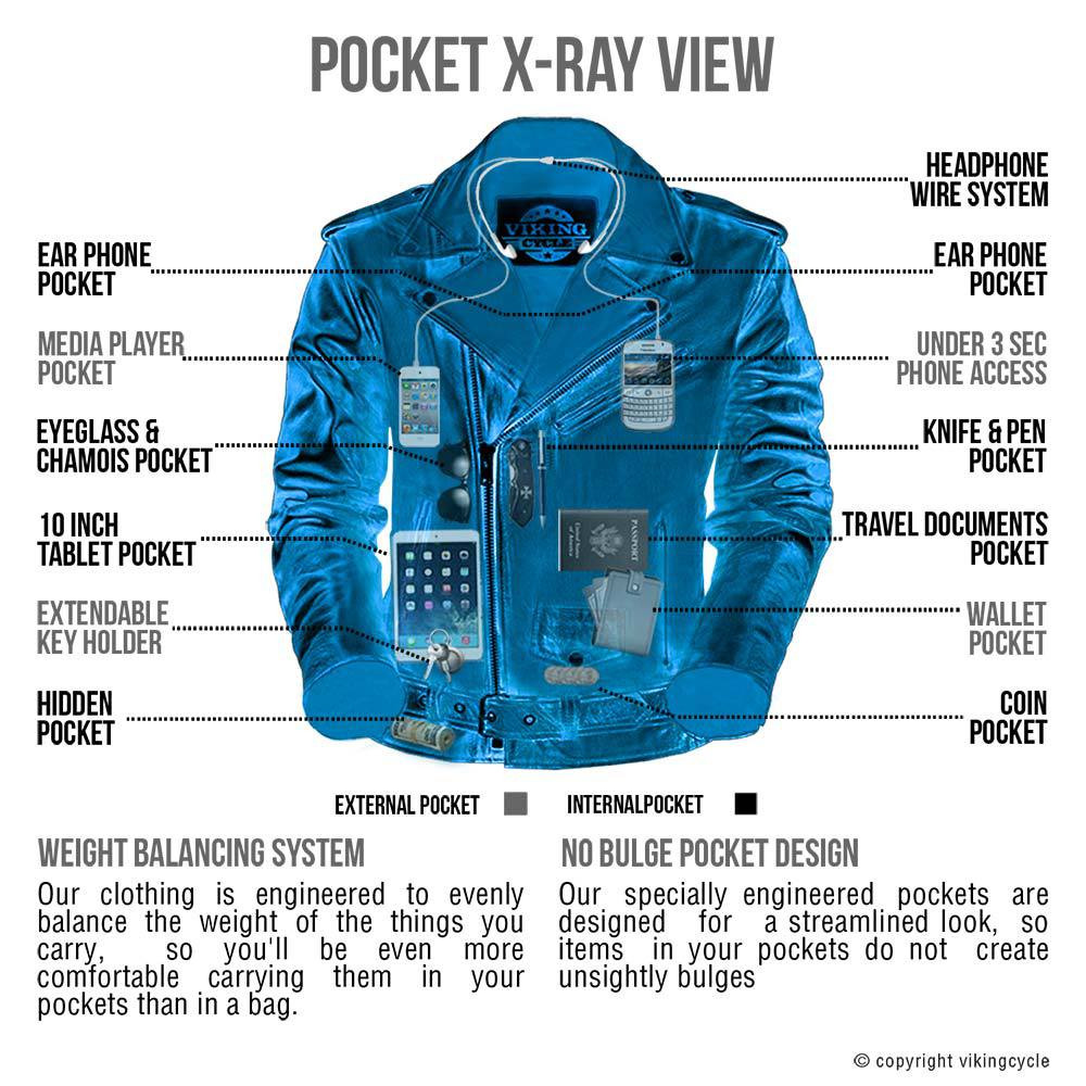 VikingCycle American Eagle Leather Jacket for Men X-Ray