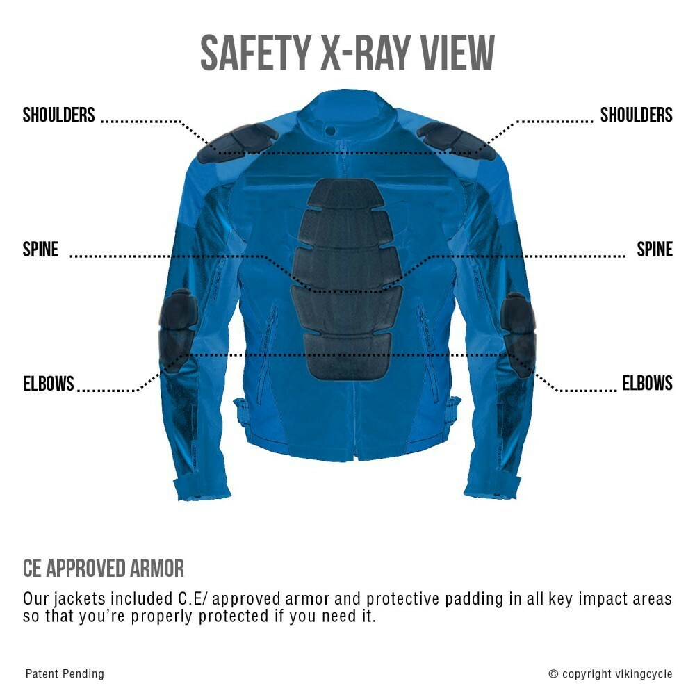 VikingCycle Asger Motorcycle Jacket for Men X-Ray View 2