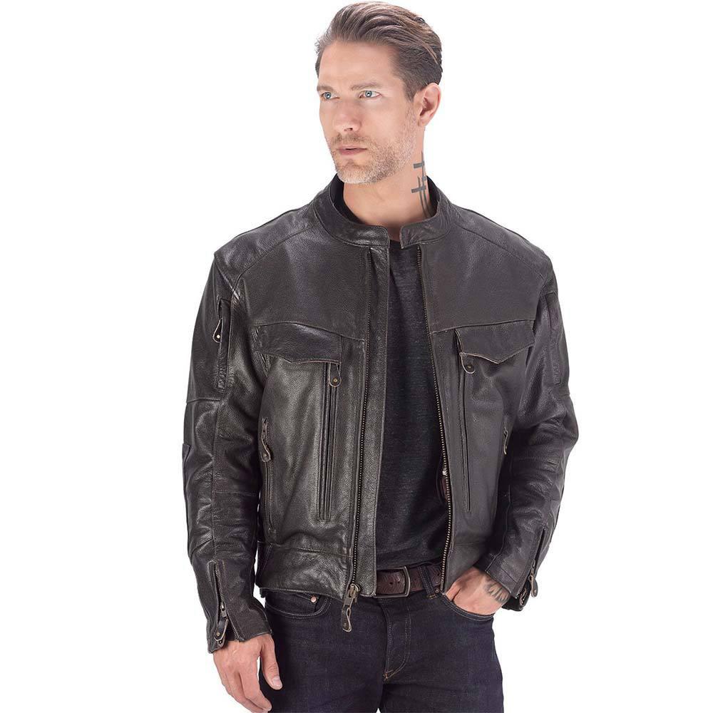 VikingCycle Skeid Brown Leather Jacket for Men Brown 1