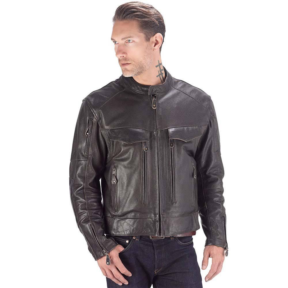 VikingCycle Skeid Brown Leather Jacket for Men Brown 3