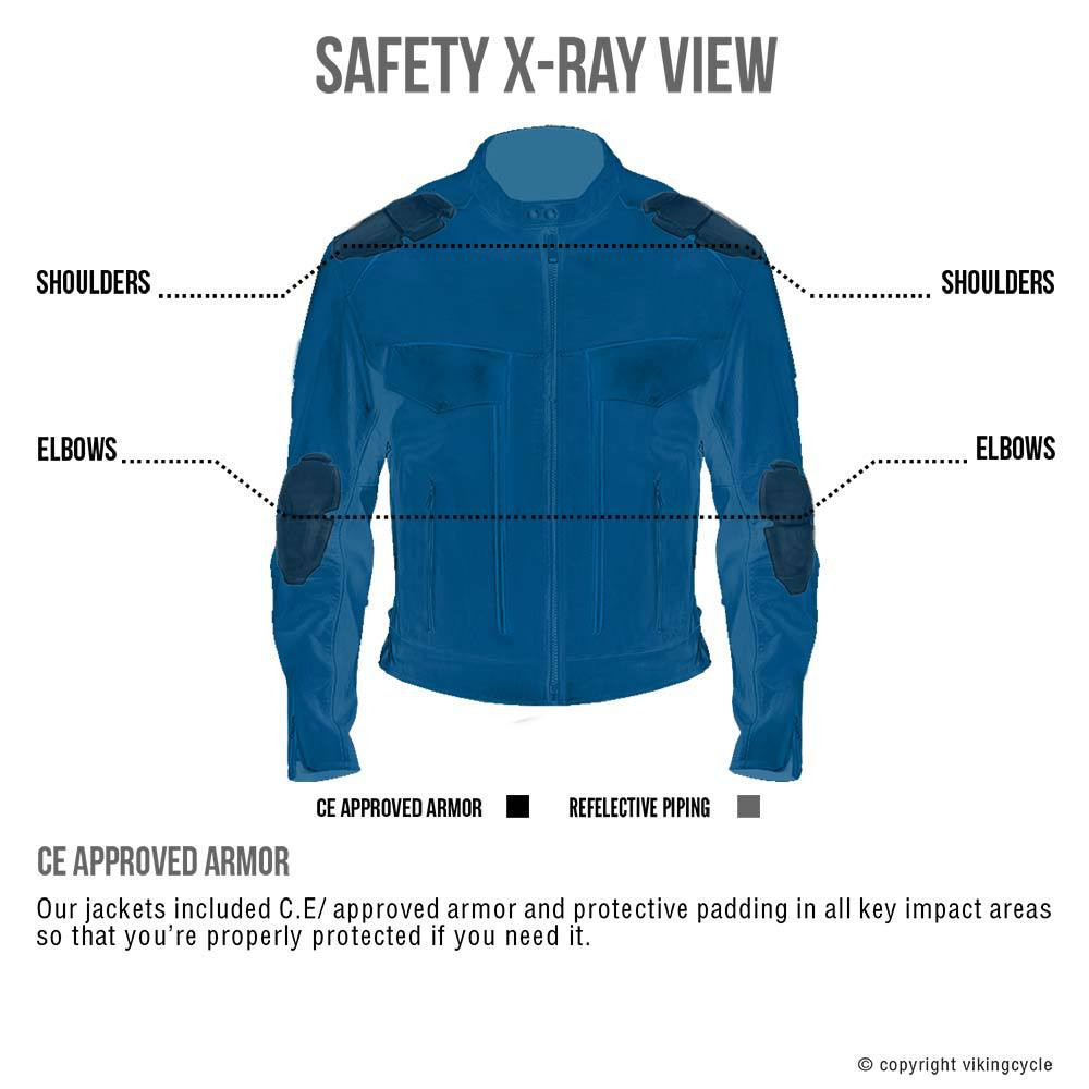 VikingCycle Skeid Brown Leather Jacket for Men X-Ray 2