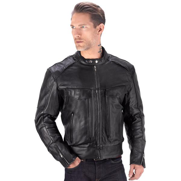 VikingCycle Skeid Brown Leather Jacket for Men Black 1