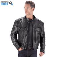 VikingCycle Skeid Brown Leather Jacket for Men Black 4