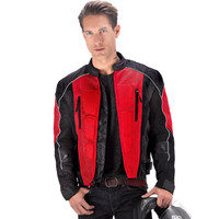 Vikingcycle Warlock Mesh Motorcycle Jacket for Men Red 3