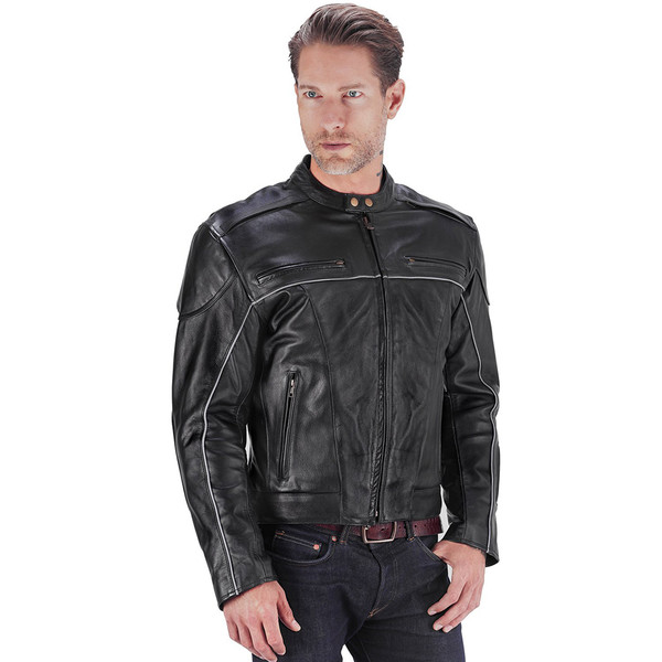 VikingCycle Warrior 2.0 Leather Motorcycle Jacket for Men 1