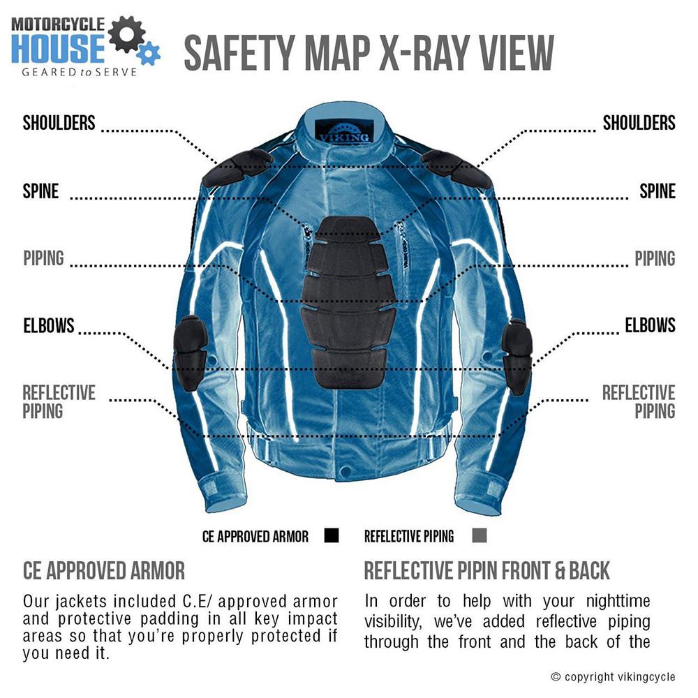VikingCycle Thor Motorcycle Jacket for Men X-Ray Image Back