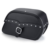 Harley Sportster 883 Low XL883L Shock Cutout SS Large Slanted Studded Leather Saddlebags