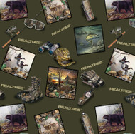 RealTree Camouflage Fabric All Over Print With Hunting Equipment