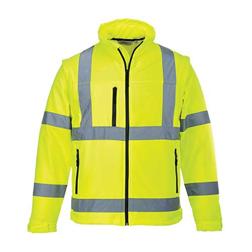 Hi-Vis Softshell Jacket with Zip-Off Sleeves (S428)