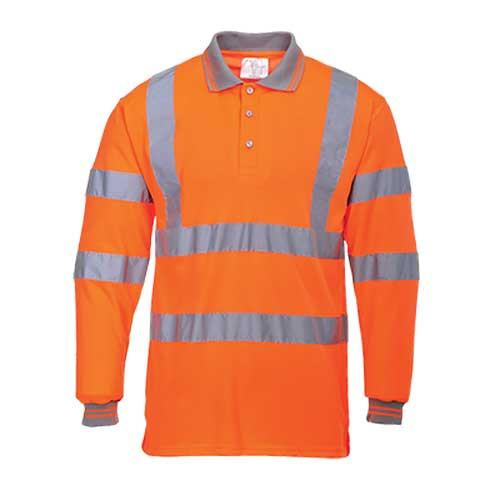 Hi-Vis Long Sleeved Polo Shirt GO/RT (S277 OR)