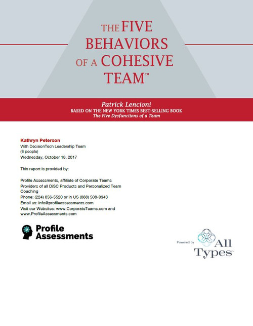 Five Behaviors Of A Cohesive Team  Powered By All Types  Profile