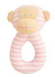 Monkey Grab Rattle 16cm - Pink