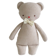 Linen Mini Rattle 18cm Bear