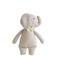 Linen Mini Rattle 18cm Elephant