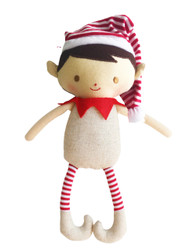 Cheeky Boy Elf Rattle  Linen 26cm