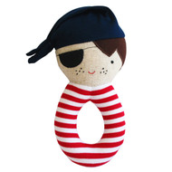 Linen Pirate Grab Rattle Navy